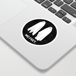 No Feet Ghosts Black and White Graphic Sticker