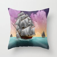 ships Throw Pillows featuring Rigged Ships by Yoly B. / Faythsrequiem