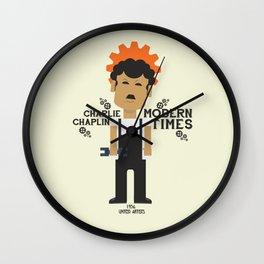Charlie Chaplin - Modern Times - minimal movie Poster, cartoon version Wall Clock
