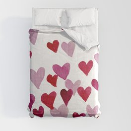 Valentine's Day Watercolor Hearts - pink Comforters