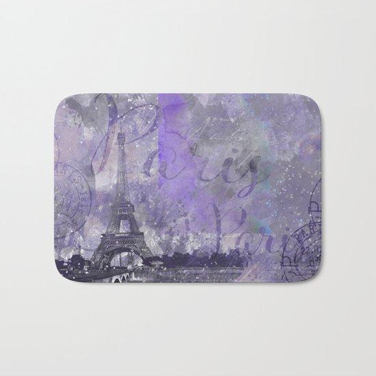 Purple Paris mixed media art Bath Mat
