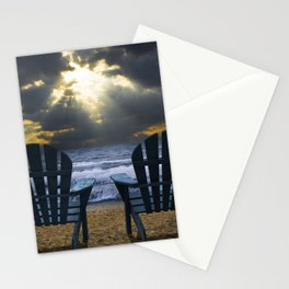 Two Adirondack Deck Chairs on the Beach with Waves crashing on the Shore Stationery Cards