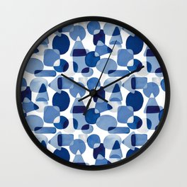Blue Watercolour Geometric Wall Clock