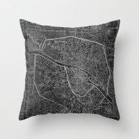 paris map Throw Pillows featuring Paris map by Le petit Archiviste