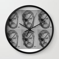 metal gear solid Wall Clocks featuring Punished Venom Snake - Metal Gear Solid V: The Phantom Pain by TuncayVural