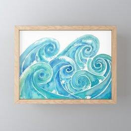Watercolor Waves Framed Mini Art Print
