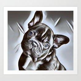 French Bulldog -  a portrait of beautiful French Bulldog puppy Art Print