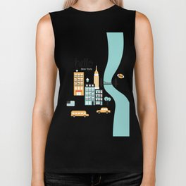 Hello New York - retro manhattan NYC icons illustration Biker Tank