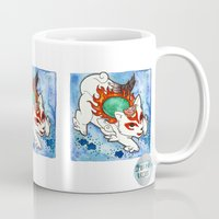 okami Mugs featuring Amaterasu from Okami 04 by Jazmine Phillips
