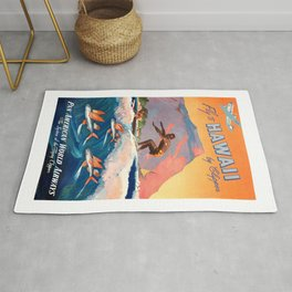 1947 Fly To Hawaii By Clipper Pan American Travel Poster Rug