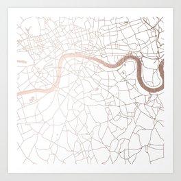 White on Rosegold London Street Map Art Print