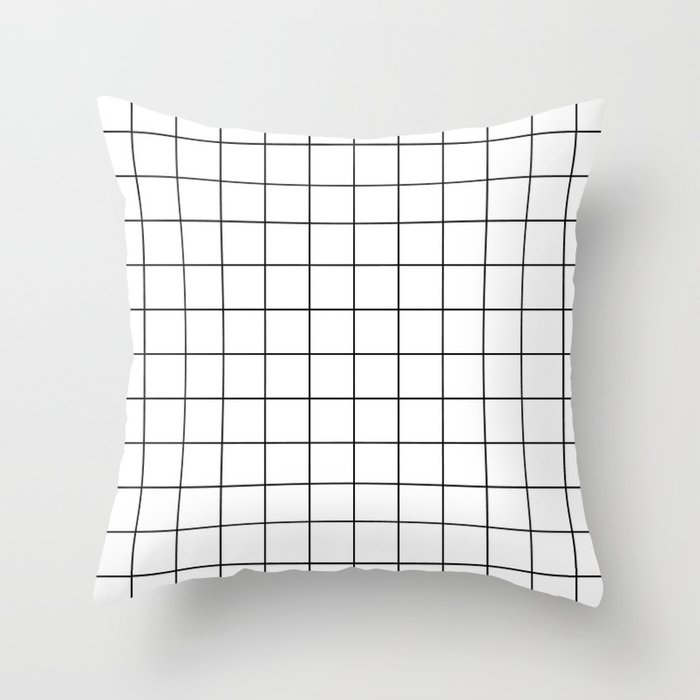 Grid Stripe Lines Black and White Minimalist Geometric Deko-Kissen