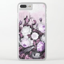 Pink Lavender Roses Gray Birds Temple of Flora Clear iPhone Case