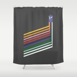 13th Doctor Retro Diagonal Stripes Shower Curtain