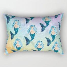 Rainbow Mermaid Bubbles Rectangular Pillow