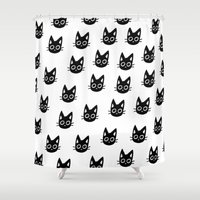 kittens Shower Curtains featuring Black Kittens by Ribbonfemale