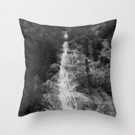 Waterfall on rough mountains Throw Pillow