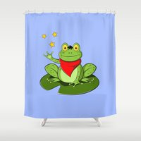 merlin Shower Curtains featuring Merlin the Useless Toad by sirwatson