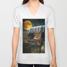Tom Coyote in Deep Thought Unisex V-Neck