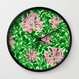 William Morris Honeysuckle, Pink and Emerald Green Wall Clock