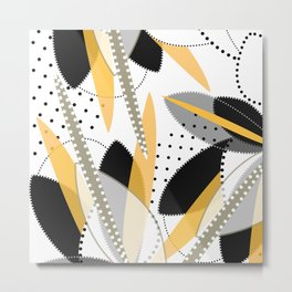 Contemporary composition of abstract forms in black and white enhanced with yellow, black and white Metal Print