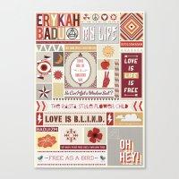 erykah badu Canvas Prints featuring Erykah Badu Print by Lucy Llewellyn