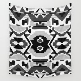 Geometric Aztec - black and white Wall Tapestry