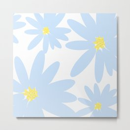 Beautiful Baby Blue Retro Daisy Flowers White Background Summer Mood #decor #society6 #buyart Metal Print