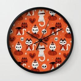 Halloween Kitties (Orange) Wall Clock