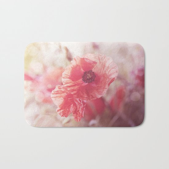 Romantic Poppy flower soft pastel colors Bath Mat