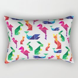 Rainbow Tangram Geomtric Animals Rectangular Pillow
