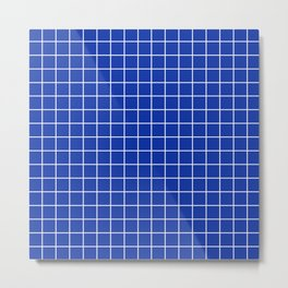 Egyptian blue - blue color - White Lines Grid Pattern Metal Print