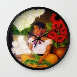 Girl with Calla Lilies and Red Mexican Sunflowers floral portrait painting Wall Clock