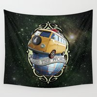 vw bus Wall Tapestries featuring VW T1 Bus - Cross the World by GET-THE-CAR