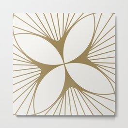 Diamond Series Floral Diamond Twist Gold on White Metal Print