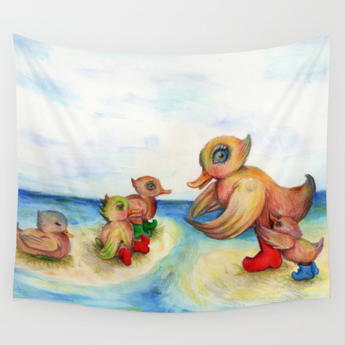 Snozzleberrymama and her ducklings Wall Tapestry