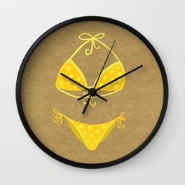 Yellow Polka Dot Bikini on Kraft Wall Clock