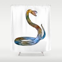 snake Shower Curtains featuring snake by madbiffymorghulis