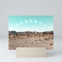 Desert Daylight Moon Ridge // Summer Lunar Landscape Teal Sky Red Rock Canyon Rock Climbing Photo Mini Art Print