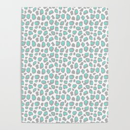 Leopard Animal Print Aqua Blue Gray Grey Spots Poster