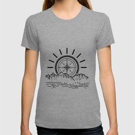 Compass shining over mountain look like sunrise that leading the way for traveller. T-shirt