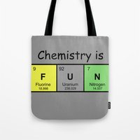 chemistry Tote Bags featuring Chemistry is by Rhodium Clothing