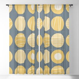 Kugeln - Minimalist Decorated Dot Pattern in Mustard Yellow and Navy Blue Sheer Curtain