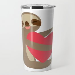 Funny sloth with a red heart Travel Mug