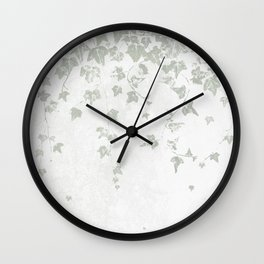 Soft Gray Green and White Trailing Ivy Leaf Print Wall Clock