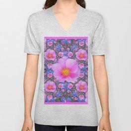 Pink Wild Roses & Blue Flowers Art Pattern Unisex V-Neck