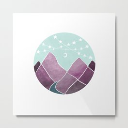 String of stars and purple mountains Metal Print