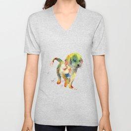 Colorful Puppy - Little Friend Unisex V-Neck