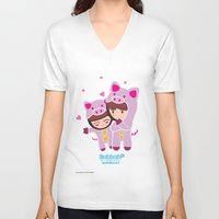 suits V-neck T-shirts featuring Piggy-Suits by I love Bubbah