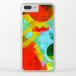 geometric square pixel and circle pattern abstract in red blue yellow Clear iPhone Case